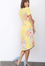 floral short sleeve midi-dress