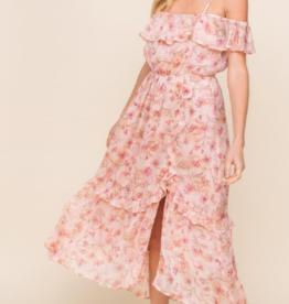 Lush pink floral mini dress