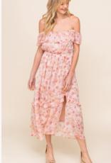 Lush pink floral midi dress