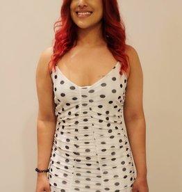Jacaranda polka dot mesh dress