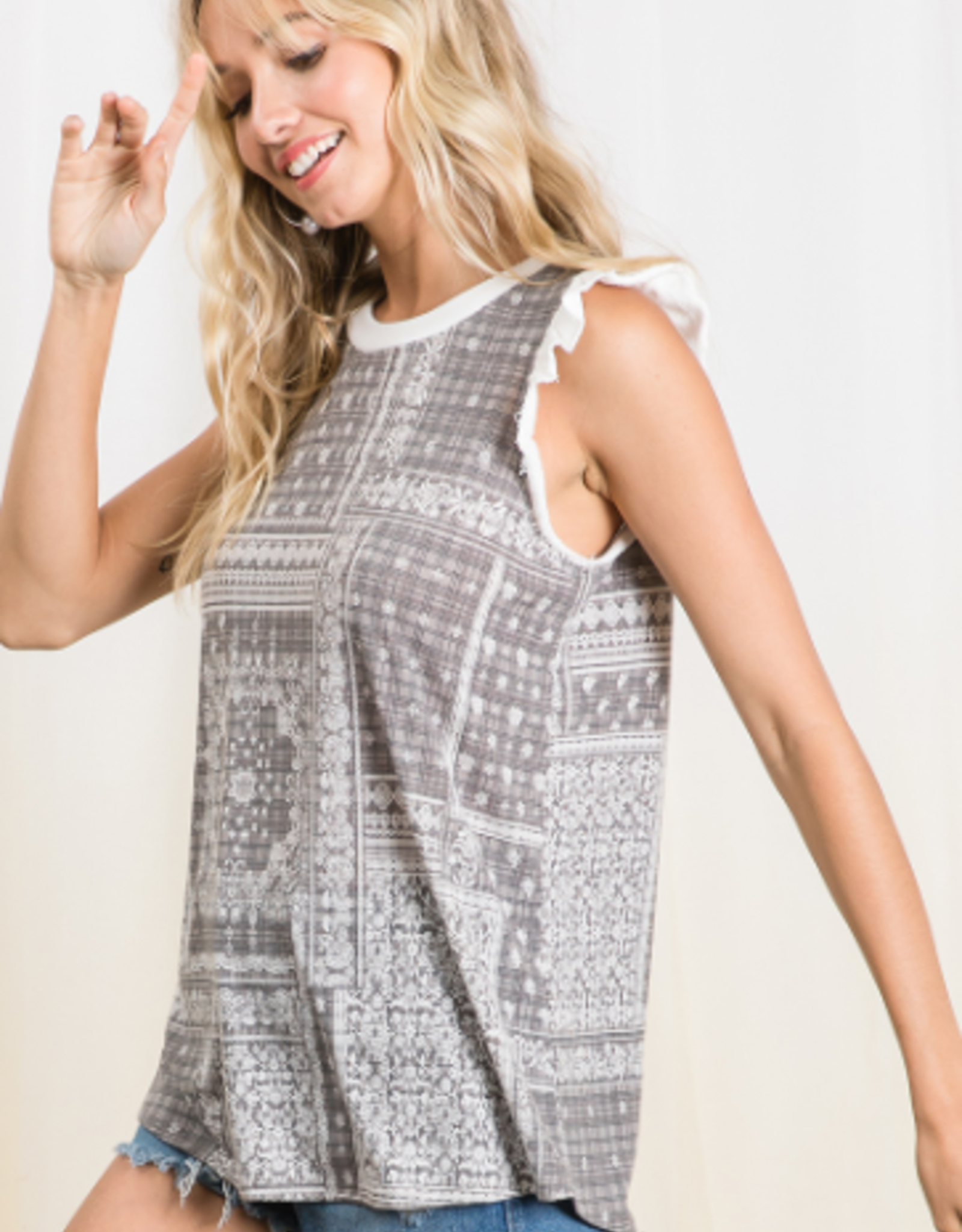 Ces Femme ethnic top printed