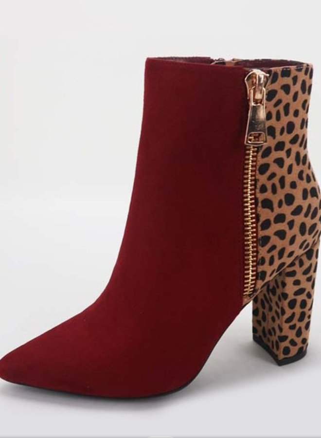 two tone suede booties