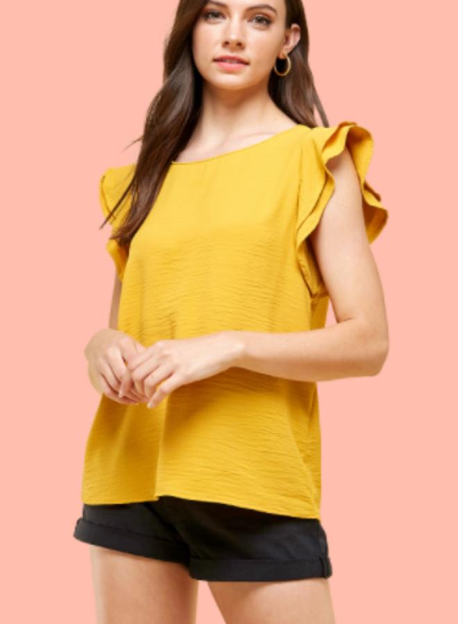 short sleeve ruffle blouse
