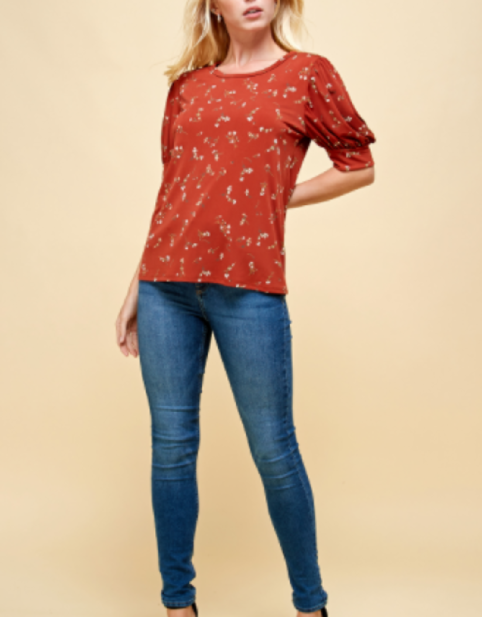 Les Amis puff sleeve printed blouse