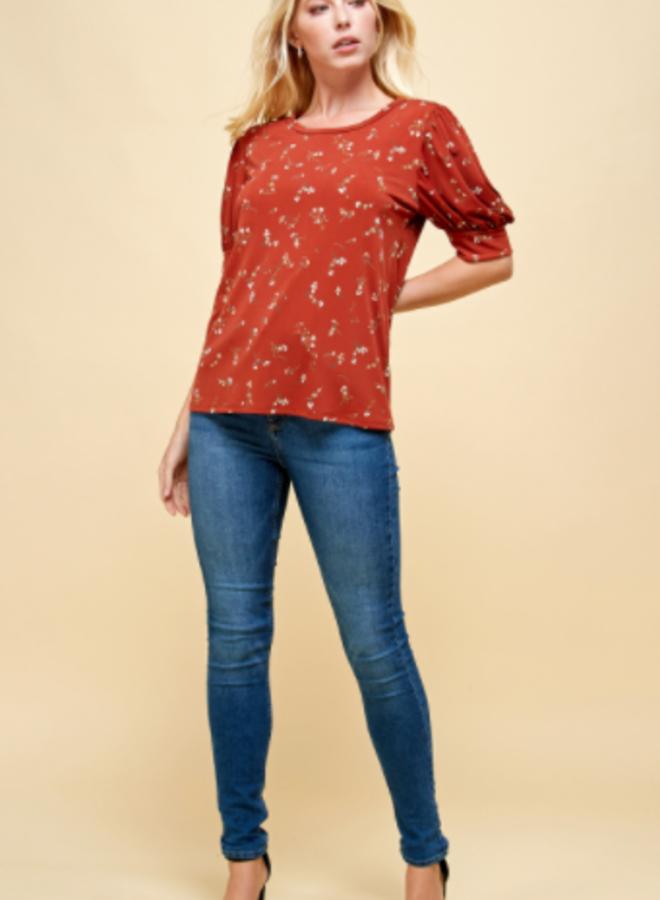 puff sleeve printed blouse