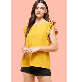 Les Amis short sleeve ruffle blouse