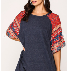 Gigio solid and print tunic top
