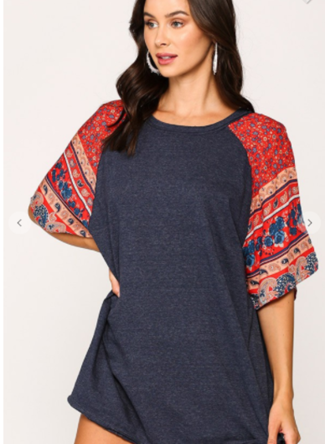 solid and print tunic top