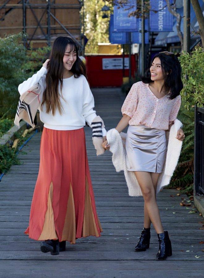 two-tone maxi skirt