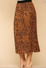 Gigio mixed animal print pleated skirt