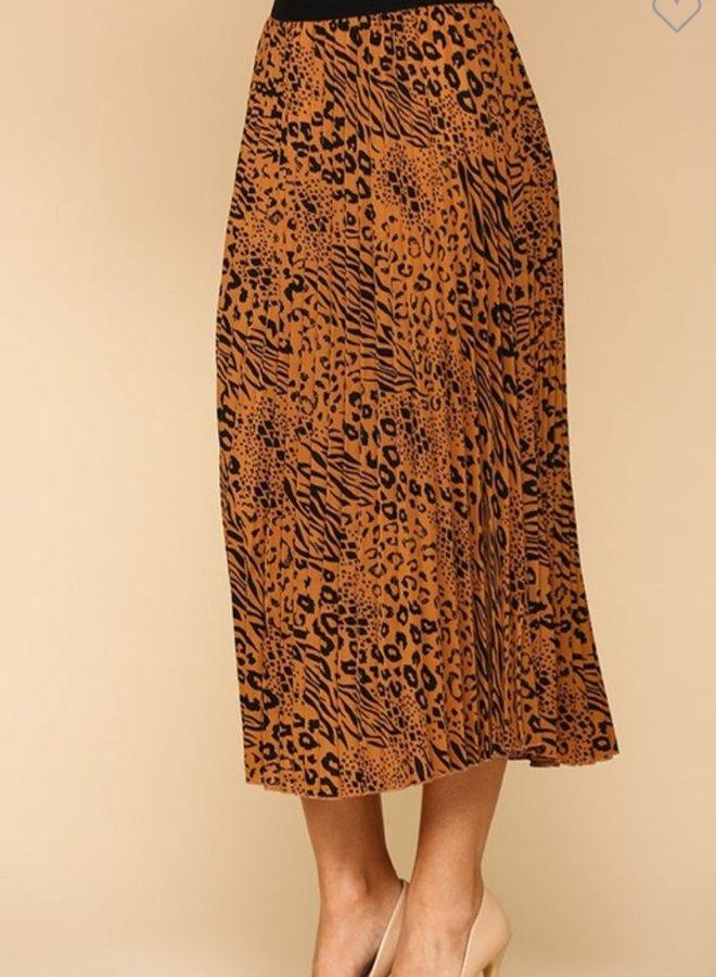 mixed animal print pleated skirt