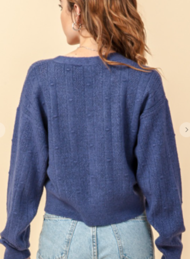 pointelle cropped cardigan sweater