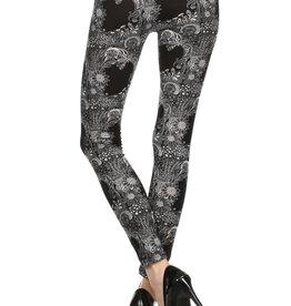LA 12th Street leggings black and white garden print