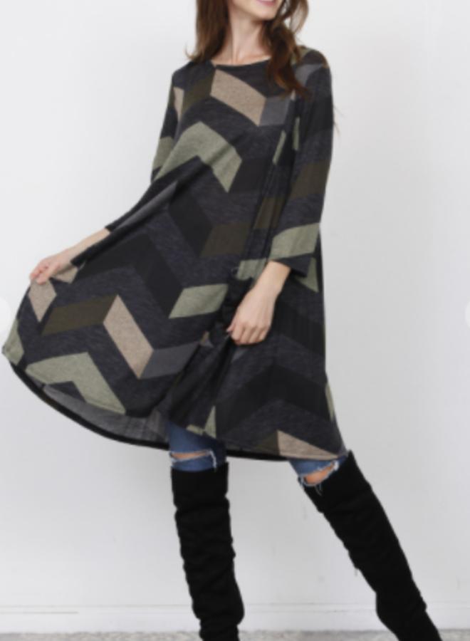 chevron print tunic dress