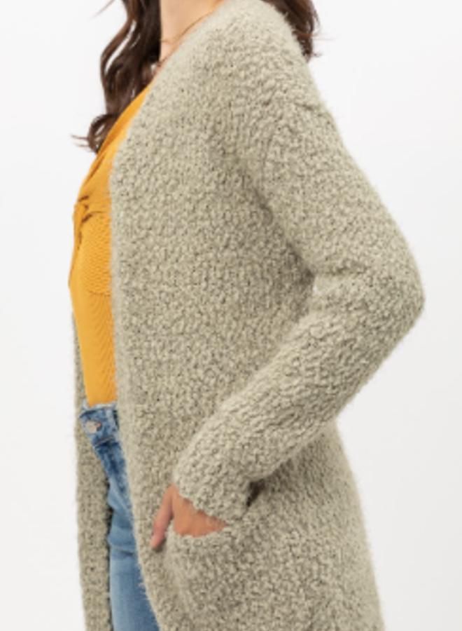 popcorn knitted cardigan