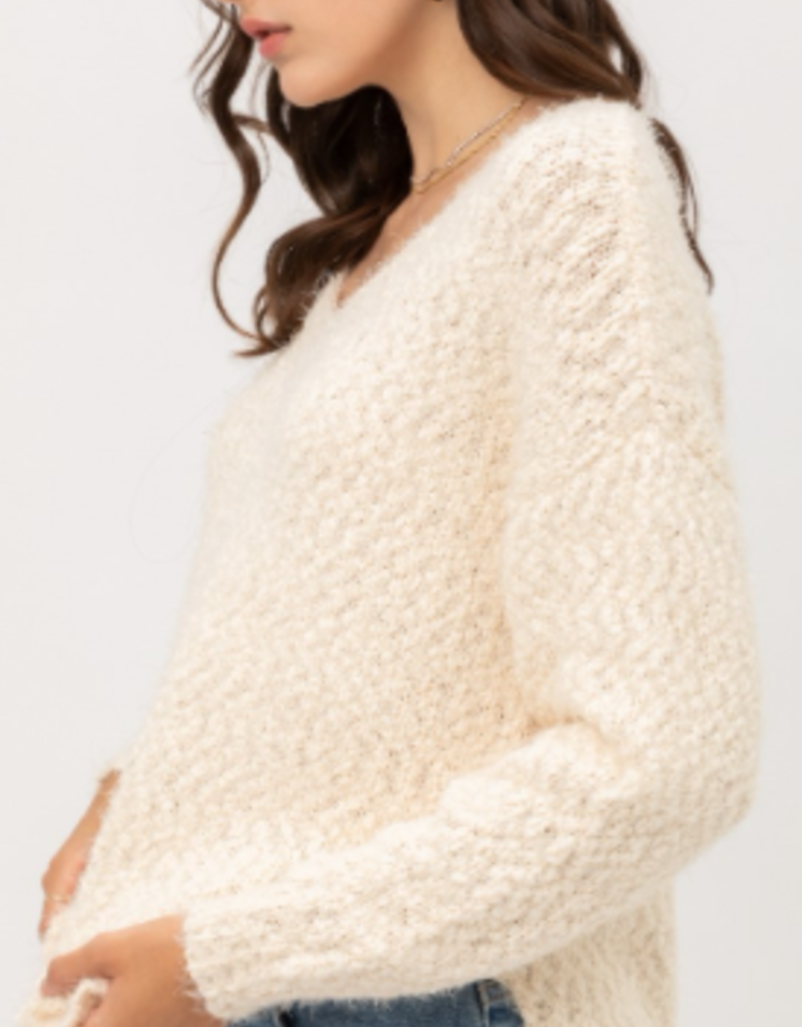 Love Tree fuzzy popcorn v neck sweater