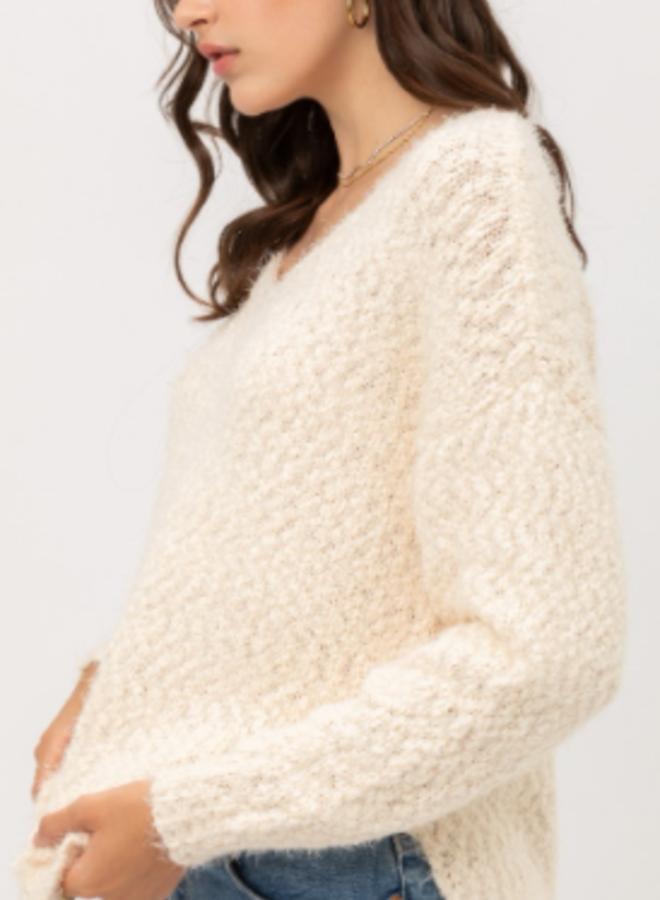 fuzzy popcorn v neck sweater
