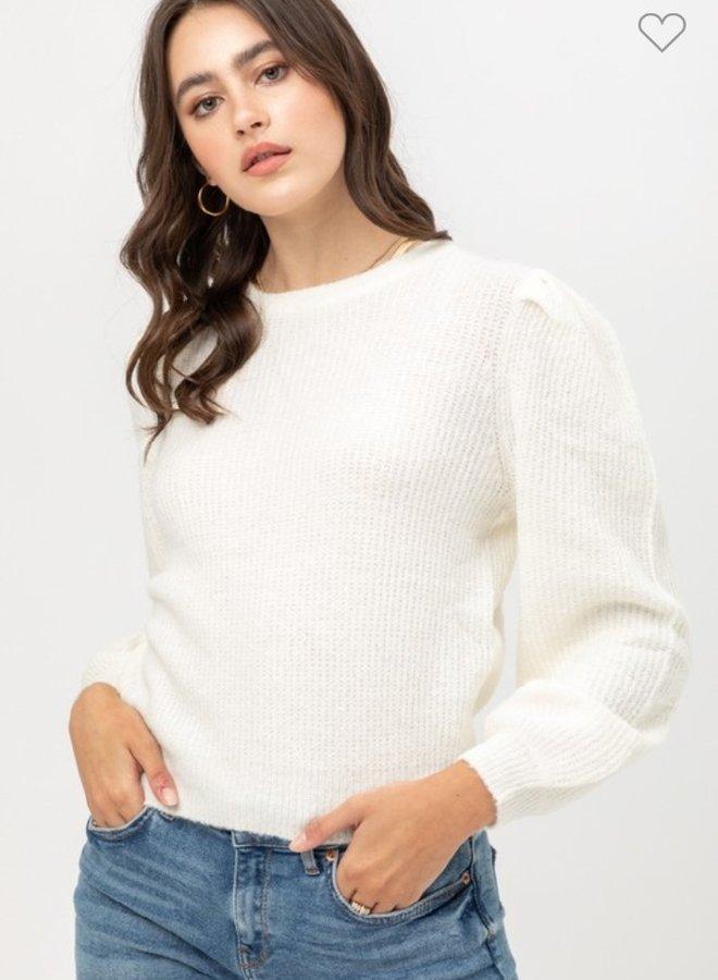 puff sleeve yarn sweater