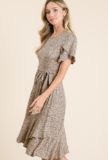 Reborn J tulip sleeve animal print dress