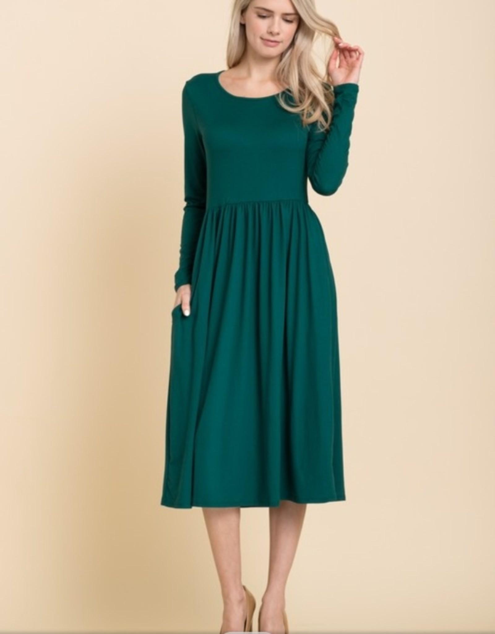 Reborn J long sleeve fit and flare midi dress
