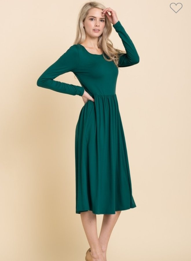 long sleeve fit and flare midi dress