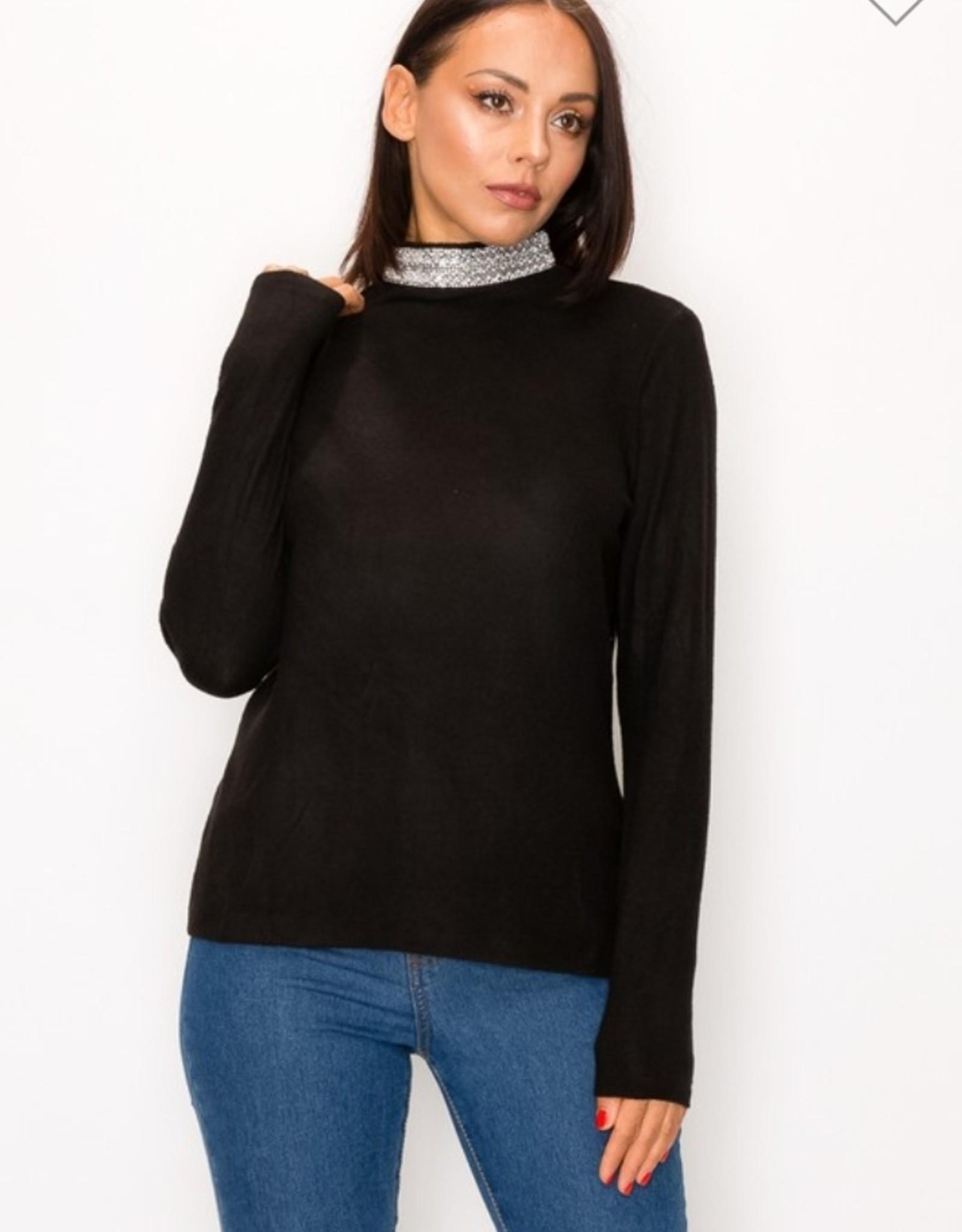 Perception beaded mock neck soft sweater