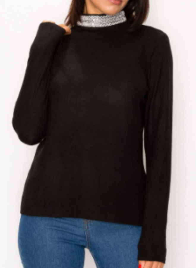 beaded mock neck soft sweater
