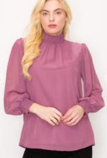 Perception long sleeve mock blouse