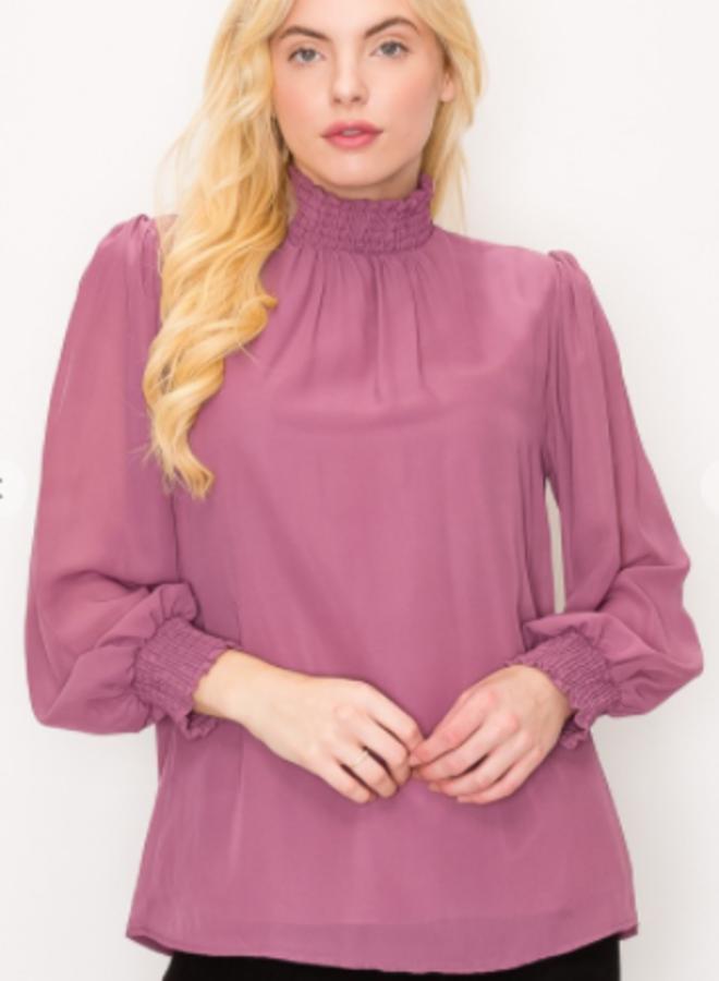 long sleeve mock blouse