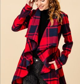 HyFve shawl collar open front plaid jacket