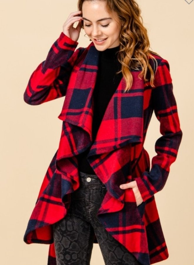 shawl collar open front plaid jacket