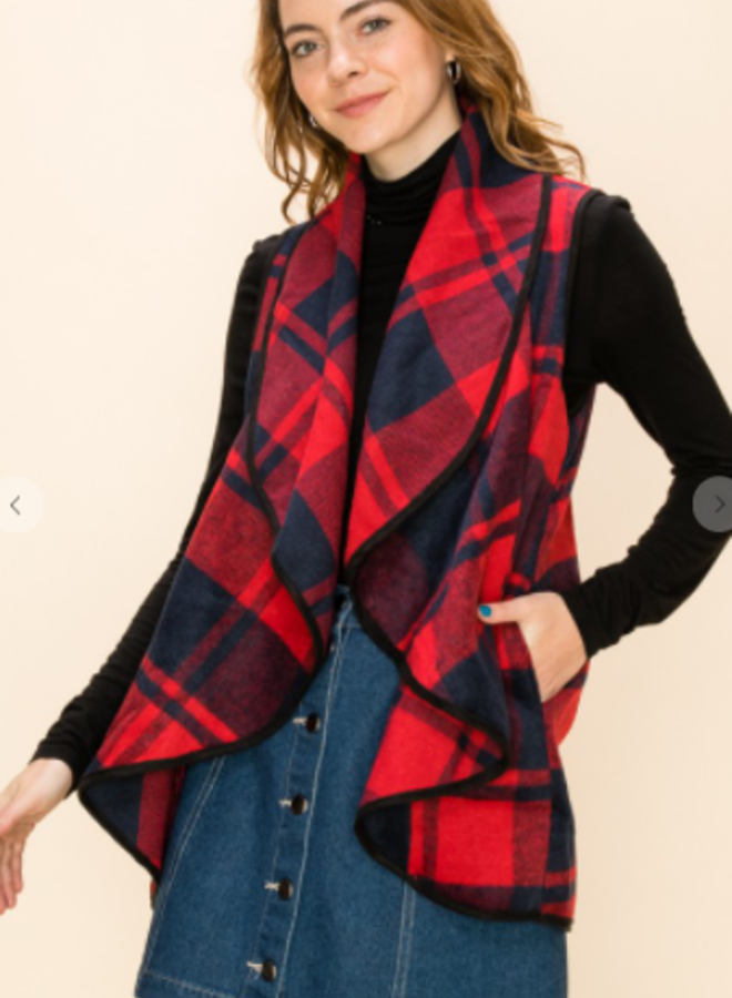 buffalo plaid shawl collar vest