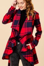 HyFve shawl collar open front plaid jacket