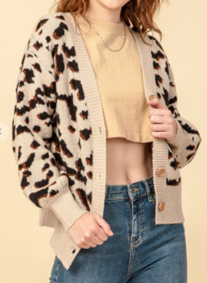leopard button down front cardigan