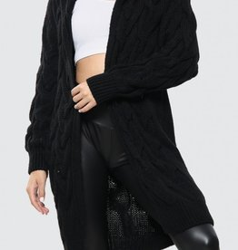 Missi Clothing hooded cable knit cardigan