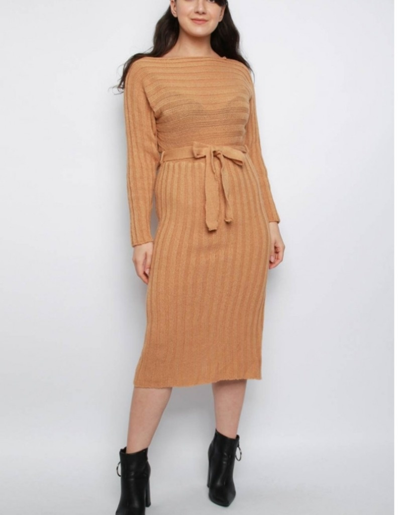 Missi Clothing belted midi sweater dress