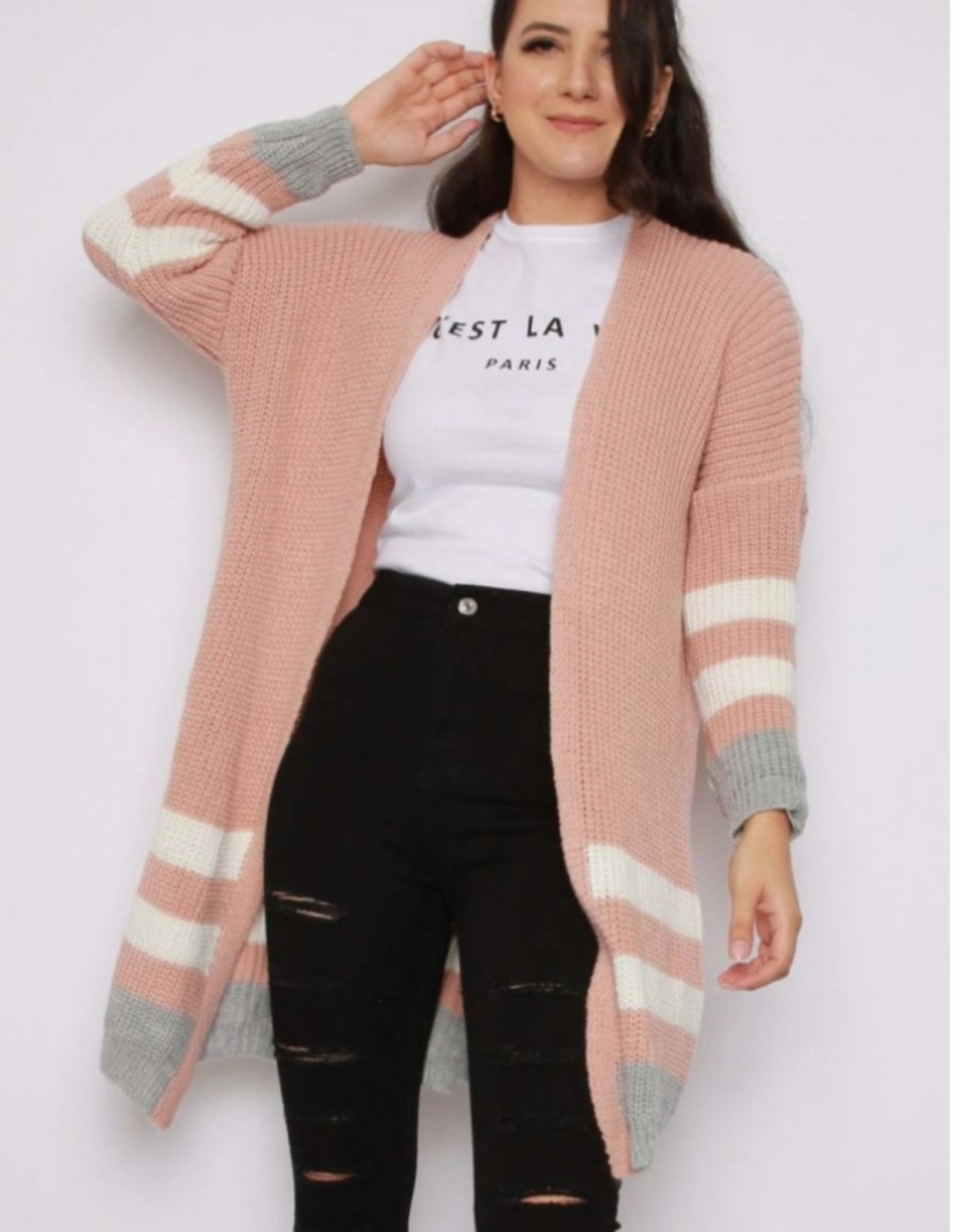 Missi Clothing stripe knitted cardigan pink