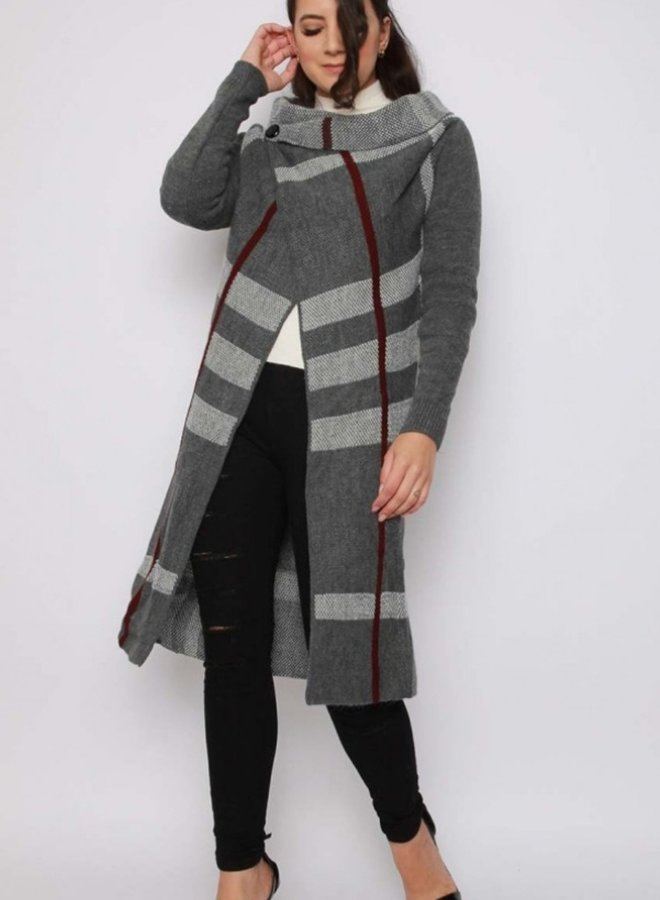 cowl neck  wrap knitted cardigan