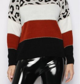Missi Clothing leopard stripe knit sweater