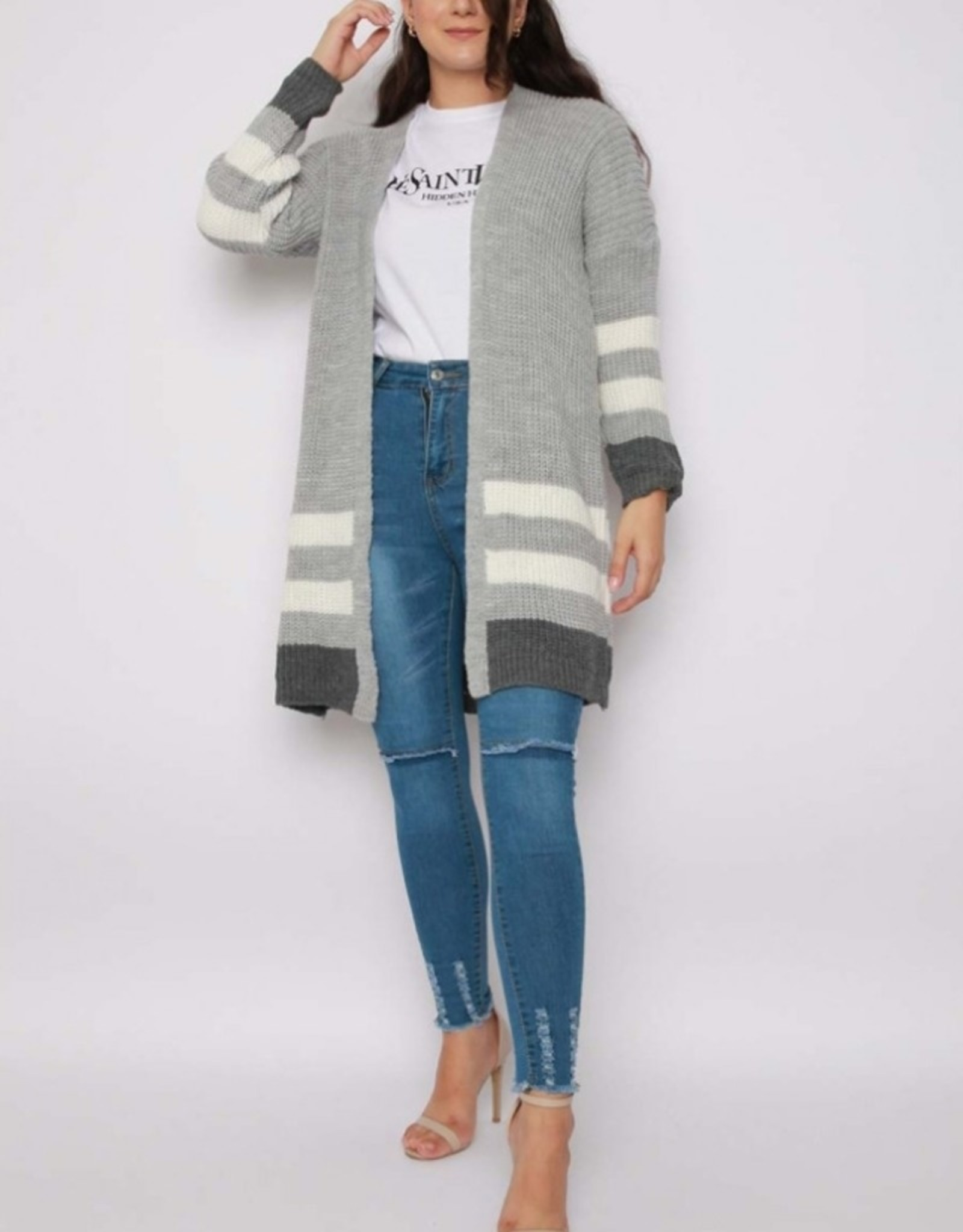 Missi Clothing striped knitted cardigan grey