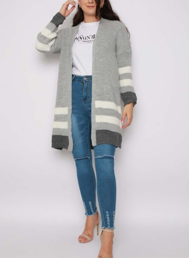striped knitted cardigan grey