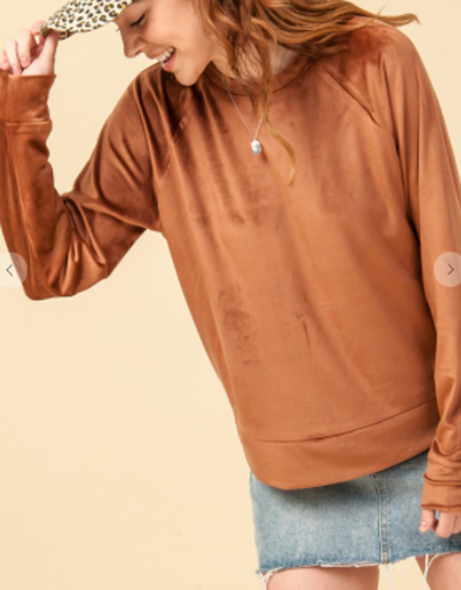HyFve crew neck velvet sweatshirt