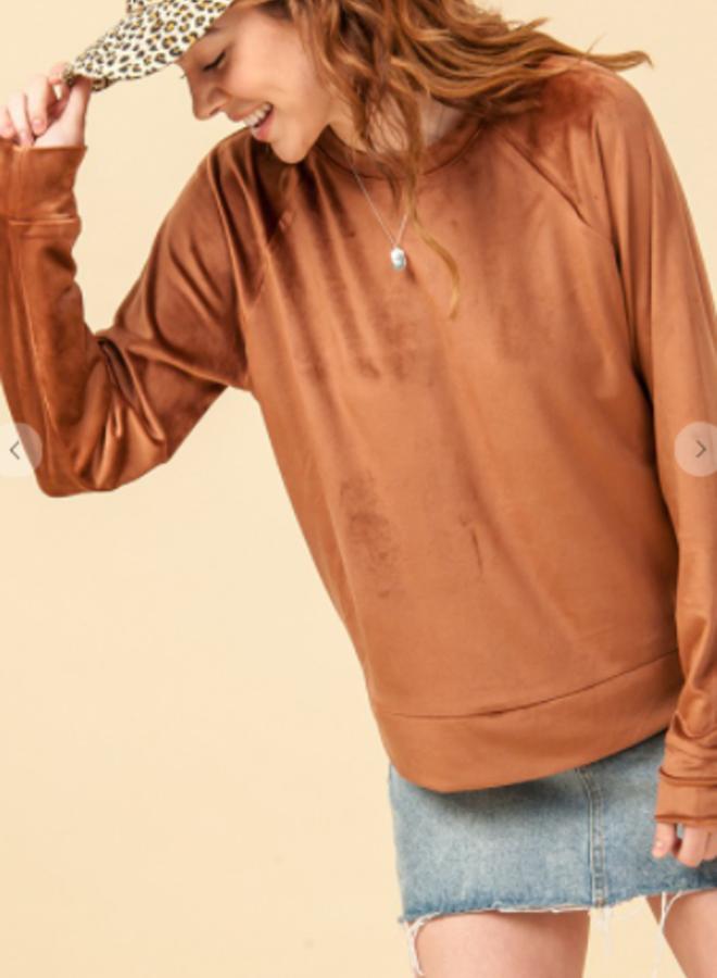 crew neck velvet sweatshirt