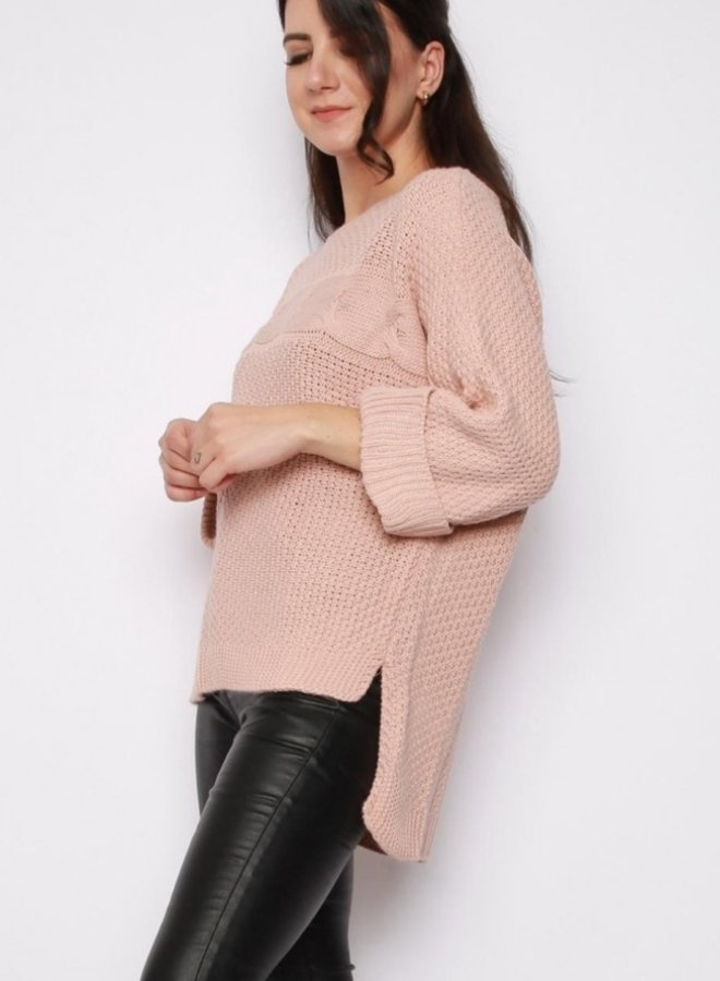 high-low knitted sweater