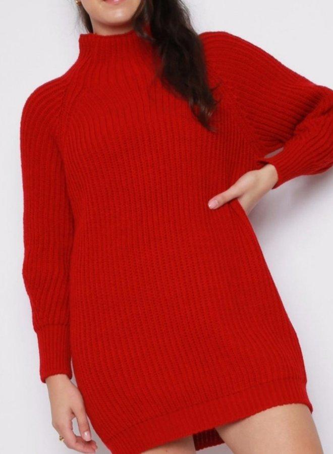 balloon sleeve mini sweater dress