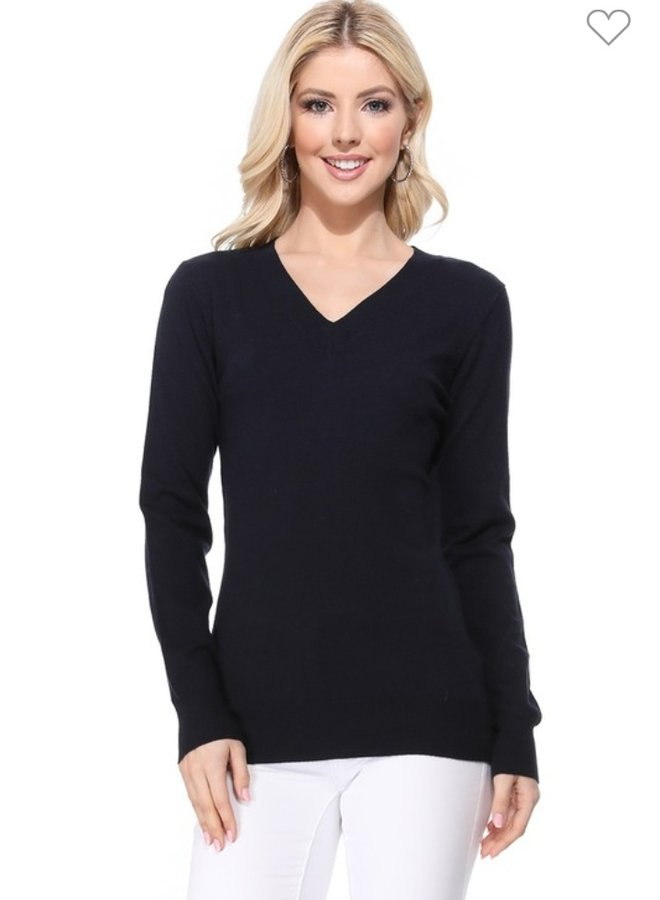 long sleeve v neck sweater