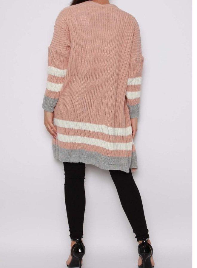 stripe knitted cardigan pink