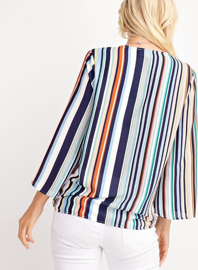blue multi stripe top