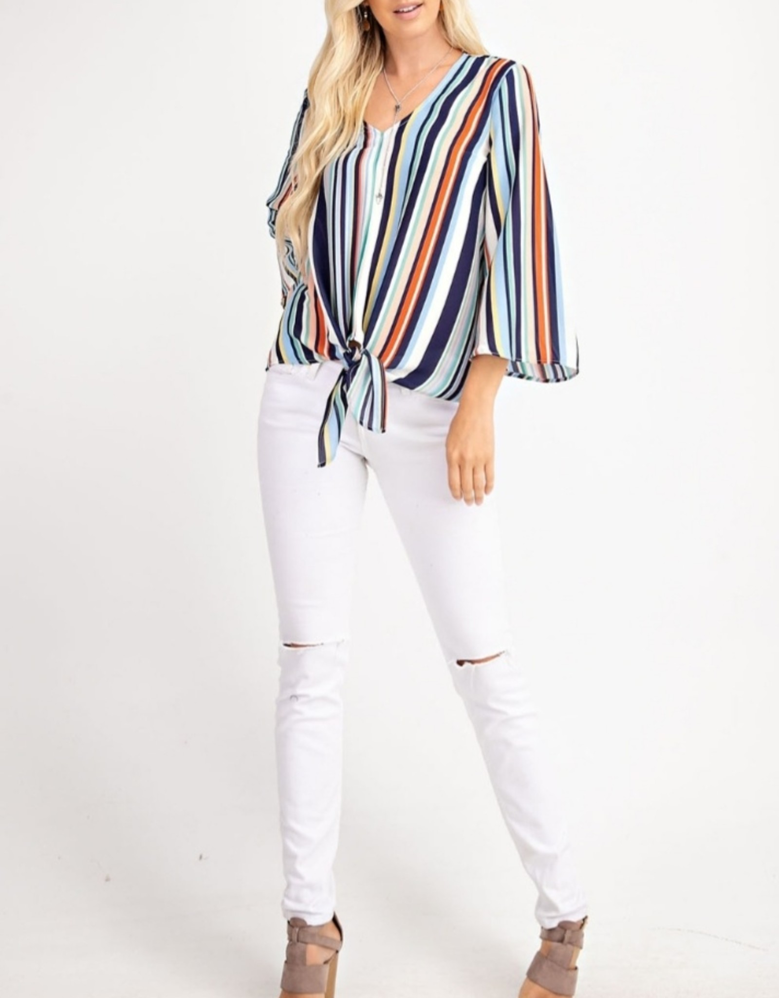 blue multi stripe top
