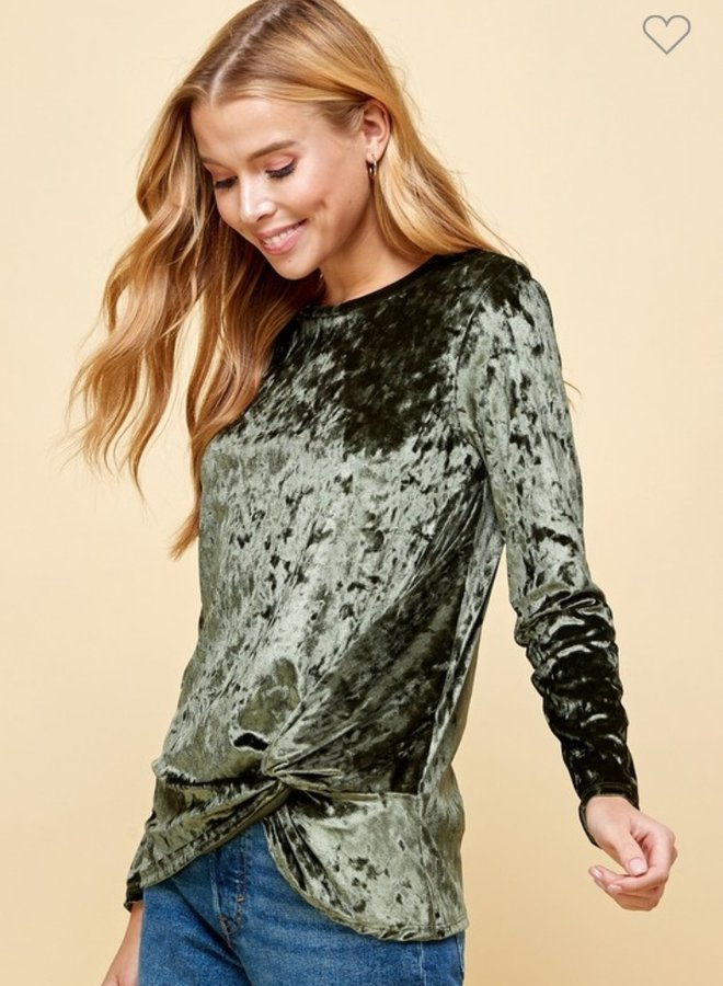 velvet top with  crisscross in front
